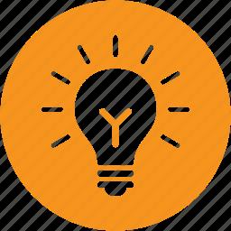 bulb, business, circle, creative, idea, new, thinking icon