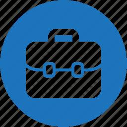bag, briefcase, case, circle, job, suitcase, work icon