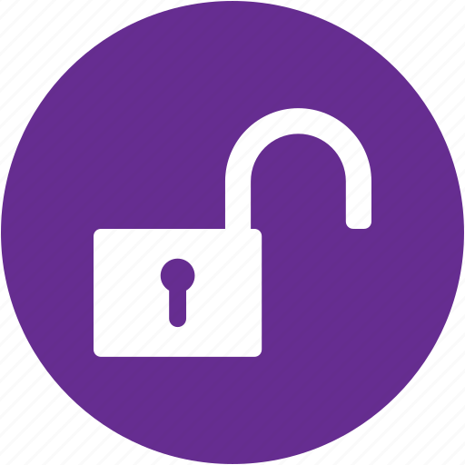 circle, lock, password, protection, safety, security, unlock icon