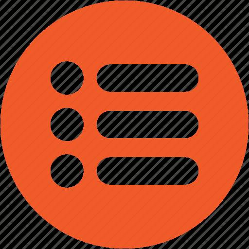 bullet, lists, menu, options, settings, views icon
