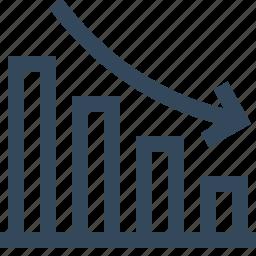 analysis, bar graph, diagram, graph, growth, lose, statistic icon