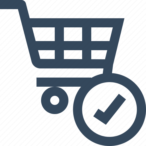 checked, shopping cart, success, ticked, valid icon