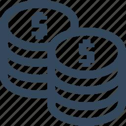 business, coins, dollar, finance, money icon