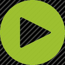 arrow, film, media, movie, play, player, start icon