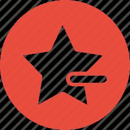 bookmark, delete, dislike, favorite, minus, remove, star icon