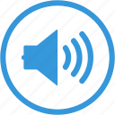 audio, loud, note, social, sound, speaker, volume icon