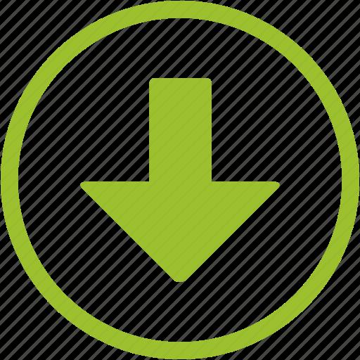 arrow, down, down arrow, download, move icon