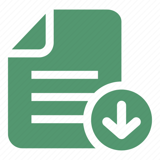 document, down arrow, download, download file, interface icon