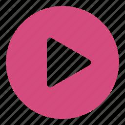 arrow, circle, multimedia option, music, video player icon