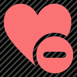 dislike, heart, minus, minus button heart, sad icon