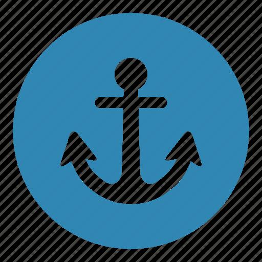 anchor, in ocean, navigation, sail, sailing, stop ship, web programming icon