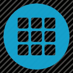 geometrical, menu, multimedia option, options, setup, squares icon