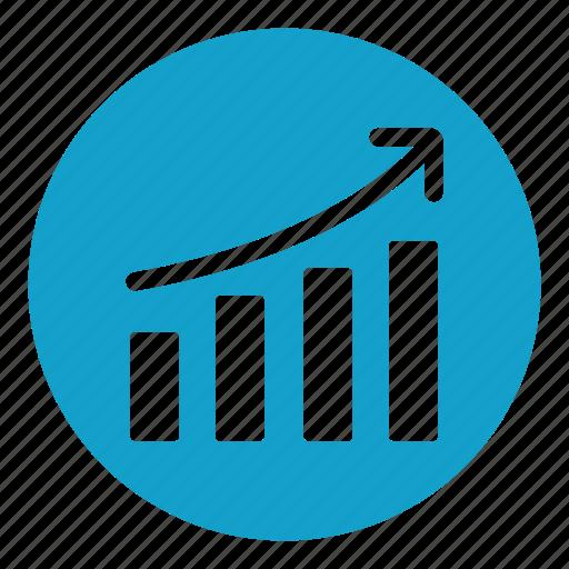 arrow, ascendant, bars chart, bars graphic, chart, graph, quantitative icon