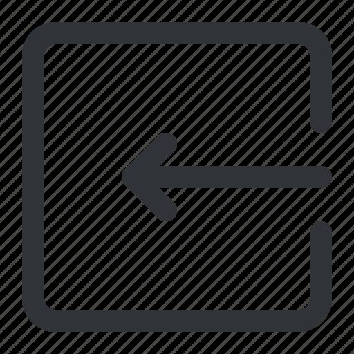 arrow, download, left, link, square icon