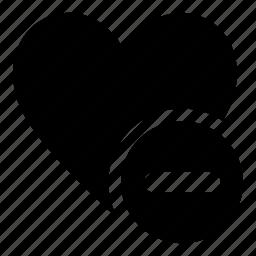 bookmark, delete, favorite, heart, minus icon