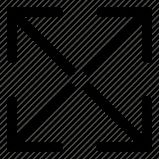 arrow, enlarge, expand, extend, fullscreen, maximize, screen icon