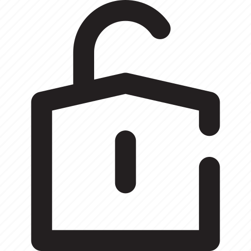 outline, padlock, save, unlock icon