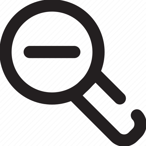 magnifying glass, minus, outline icon