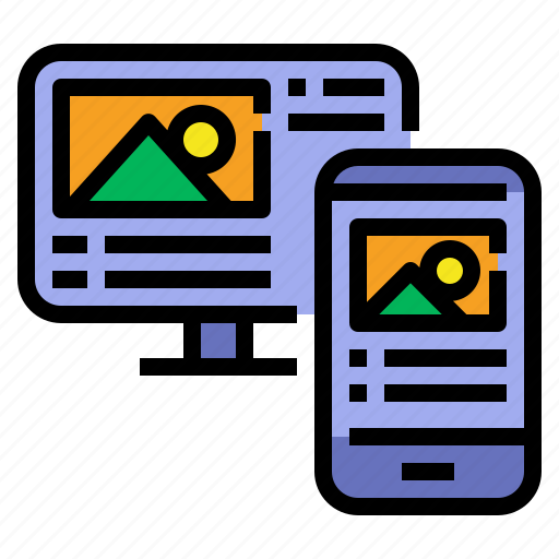 desktop, display, mobile, responsive, web design icon