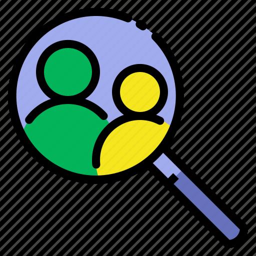 investigate, research, search, seo, user icon