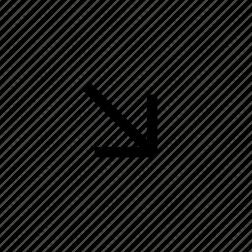 arrow, bottom, corner, diagonal, direction, minimize, right icon