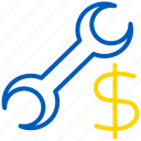 cost, money, repair, service icon