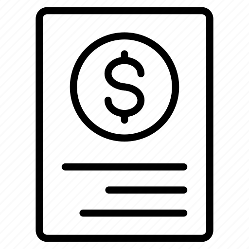 bill, document, invoice, receipt, tax icon