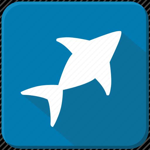 blue, figure, sea, shark, underwater icon