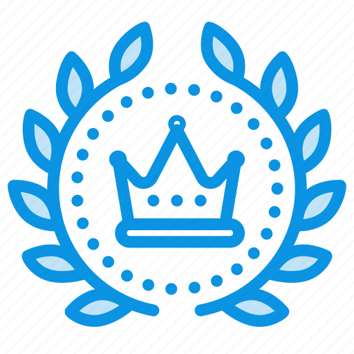 achievement, award, badge, crown, king, luxury, royal, wreath icon