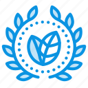 achievement, award, badge, bio, eco, green, wreath icon