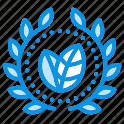 achievement, award, badge, bio, eco, green, wreath icon