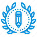 achievement, award, badge, design, draw, wreath, write icon
