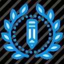 draw, wreath, award, write, design, badge, achievement