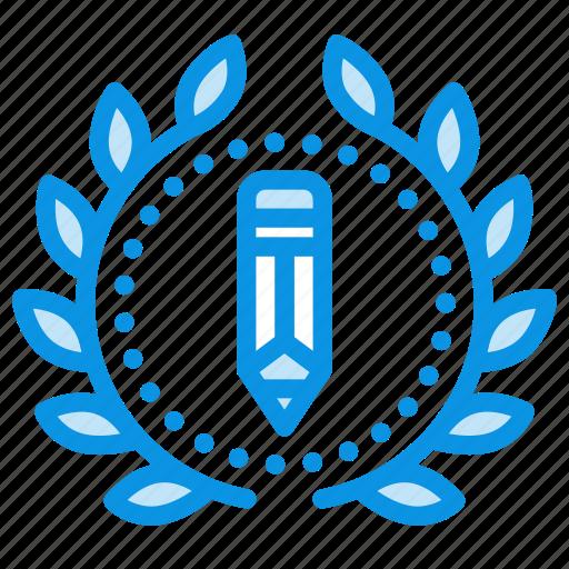 achievement, award, badge, design, draw, wreath, write icon