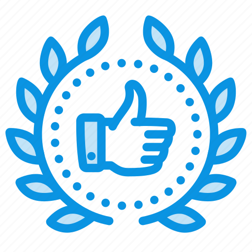 achievement, award, badge, done, like, thumbs up, wreath icon
