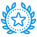 achievement, award, badge, favorite, star, top, wreath icon