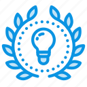 achievement, award, badge, creative, idea, mind, wreath icon