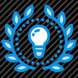 achievement, award, badge, creative, idea, mind, wreath icon