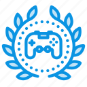 achievement, award, badge, game, joystick, play, wreath icon