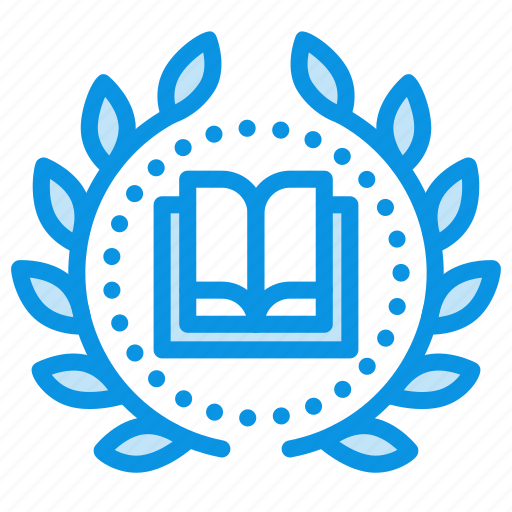 achievement, award, book, education, wreath icon