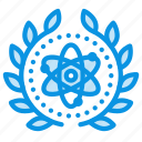 achievement, atom, atomic, award, badge, science, wreath icon
