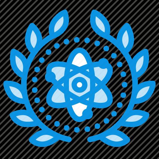 achievement, atom, atomic, award, badge, science, wreath icon