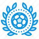 achievement, award, badge, football, sport, wreath icon