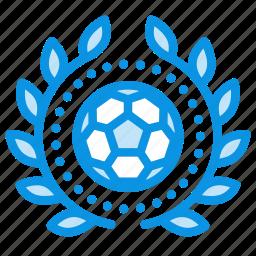 achievement, award, badge, ball, football, sport, wreath icon