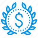 achievement, award, badge, business, leader, money, wreath icon