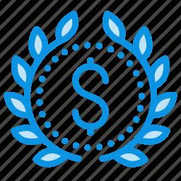 achievement, award, badge, business, leader, money, wreath icon