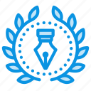 achievement, award, badge, creative, design, ink, pen, wreath icon