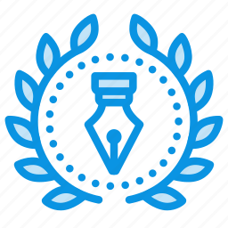 achievement, award, badge, creative, design, ink, pen, wreath icon