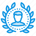 achievement, award, badge, top, user, winner, wreath icon