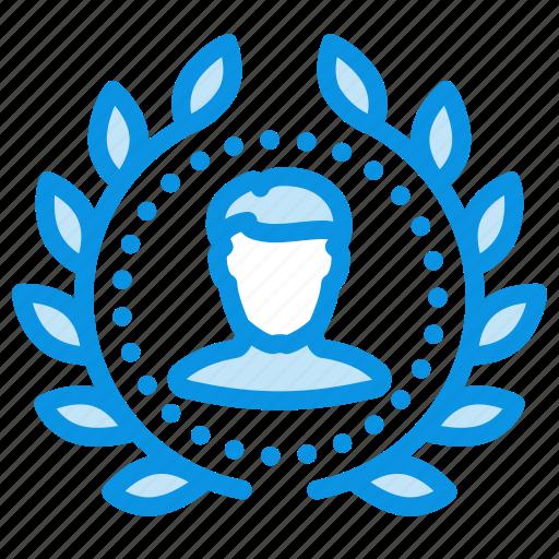 achievement, award, badge, top, user, winner, wreath icon